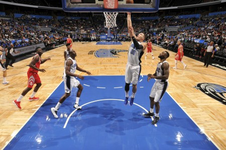 Orlando Magic star Aaron Gordon shooting the ball against the Houston Rockets