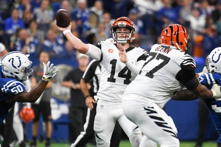 Cincinnati Bengals quarterback Andy Dalton throws a pass against the Indianapolis Colts