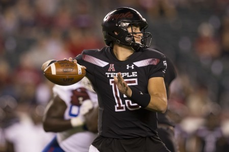 Temple Owls quarterback Anthony Russo attempts to make a pass against the Tulsa Golden Hurricane