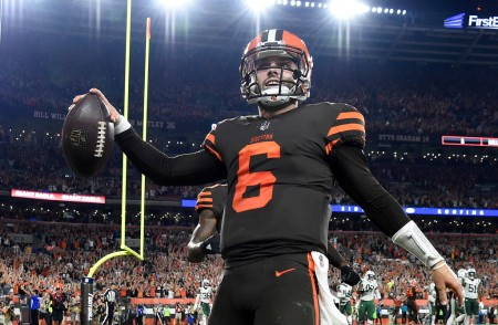Cleveland Browns quarterback Baker Mayfield caught the two point conversion following a touchdown to tie the game