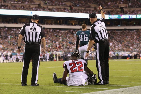 Atlanta Falcons safety Keanu Neal suffered an injury in season-opener