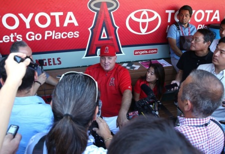 Longtime Los Angeles Angels manager Mike Scioscia meets with the media prior to the Oakland Athletics game