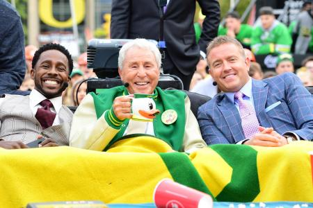 College GameDay's Desmond Howard, Lee Corso, and Kirk Herbstreit in Eugene, Oregon at the University of Oregon