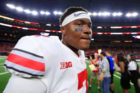 Ohio State Buckeyes quarterback Dwayne Haskins walks off the field after guiding his team to a win over the TCU Horned Frogs