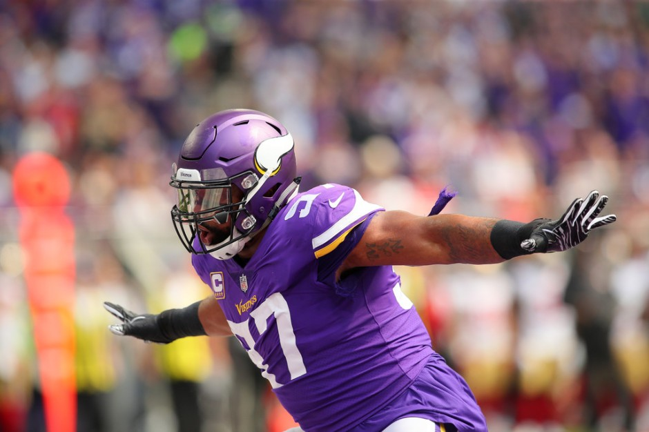 Minnesota Vikings star defensive end Everson Griffen celebrates a sack on San Francisco 49ers quarterback Jimmy Garoppolo