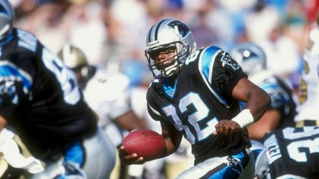 Carolina Panthers running back Fred Lane running the ball against the New Orleans Saints
