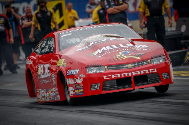 Erica Enders-Stevens racing on Friday at Maple Grove Raceway in the Dodge NHRA Nationals