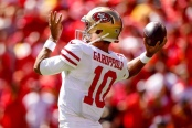 San Francisco 49ers quarterback Jimmy Garoppolo getting ready to play against the Kansas City Chiefs
