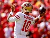 San Francisco 49ers quarterback Jimmy Garoppolo getting ready to play against the Kansas City Chiefs