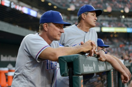 Texas Rangers manager Jeff Banister looking on during a game against the Baltimore Orioles