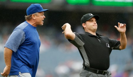 Toronto Blue Jays manager John Gibbons is thrown out of a game against the New York Yankees