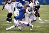 Jacksonville Jaguars running back Leonard Fournette rushing the ball against the New York Giants
