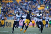 Pittsburgh Steelers wide receiver Martavius Bryant tries to make a catch against the Jacksonville Jaguars