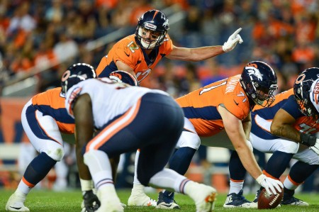 Denver Broncos quarterback Paxton Lynch playing against the Chicago Bears