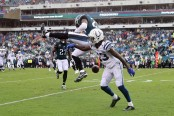 Philadelphia Eagles safety Rodney McLeod breaks up a pass intended for Indianapolis Colts wide receiver T.Y. Hilton