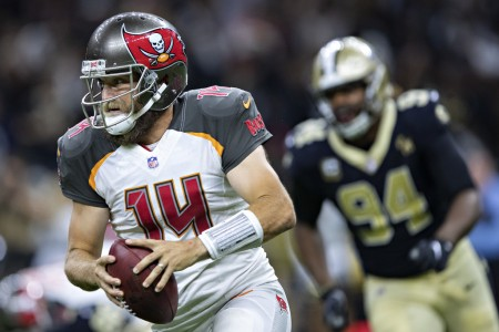 Tampa Bay Buccaneers quarterback Ryan Fitzpatrick runs the ball against the New Orleans Saints