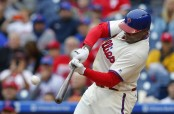 Former Philadelphia Phillies first baseman Ryan Howard hitting a two-run home run