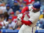 Former Philadelphia Phillies first baseman Ryan Howard hitting a two-run home run