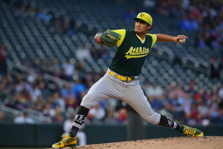 Oakland Athletics pitcher Sean Manaea pitching in the first inning against the Minnesota Twins