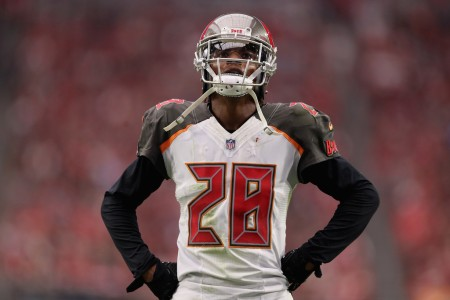 Tampa Bay Buccaneers corner back Vernon Hargreaves III looks on during an NFL game against the Arizona Cardinals