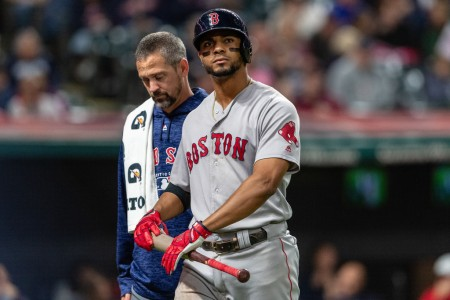Boston Red Sox shortstop Xander Bogaerts leaving the game against the Cleveland Indians in the seventh inning