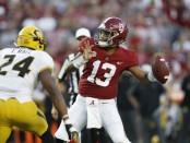 Alabama Crimson Tide quarterback Tua Tagovailoa attempts a pass against the Missouri Tigers