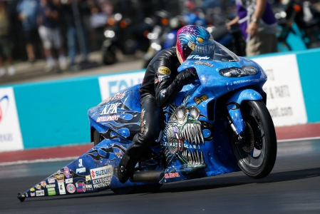 Pro Stock Motorcycle rider LE Tonglet racing on Sunday at the AAA Texas NHRA FallNationals