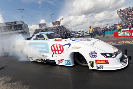 "AAA ""Don't Text and Drive"" Funny Car pilot Robert Hight racing on Sunday at the AAA Texas NHRA FallNationals"
