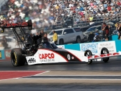 Capco Contractors Top Fuel Dragster pilot Steve Torrence racing on Sunday at the AAA Texas NHRA FallNationals