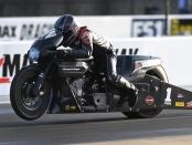 Screamin' Eagle Vance & Hines Harley-Davidson Pro Stock Motorcycle rider Eddie Krawiec racing on Friday at the NHRA Carolina Nationals