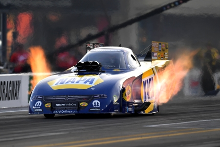 NAPA Auto Parts NIGHTVISION Lamps Funny Car pilot Ron Capps racing on Friday at the NHRA Carolina Nationals