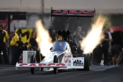 Capco Contractors Top Fuel Dragster pilot Steve Torrence racing on Friday at the NHRA Carolina Nationals
