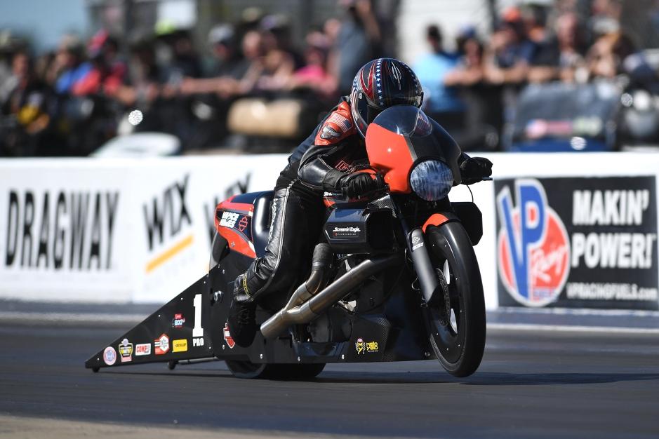 Screamin' Eagle Vance & Hines Harley-Davidson Pro Stock Motorcycle Eddie Krawiec racing on Saturday at the NHRA Carolina Nationals