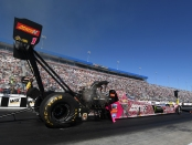 Advance Auto Parts/Monster Energy Top Fuel Dragster pilot Brittany Force racing on Saturday at the NHRA Carolina Nationals