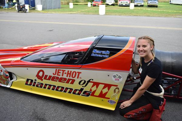 Queen of Diamonds II Jet Dragster pilot Sarah Edwards at the Dodge NHRA Nationals