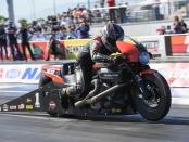 Screamin' Eagle Vance & Hines Pro Stock Motorcycle rider Eddie Krawiec racing at the Toyota NHRA Nationals