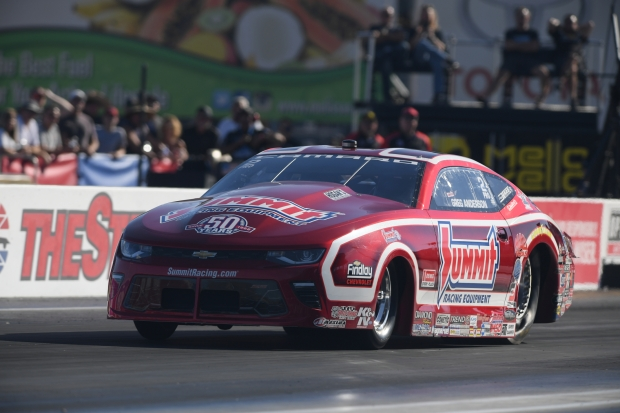 Summit Racing Equipment Pro Stock driver Greg Anderson racing at the Toyota NHRA Nationals