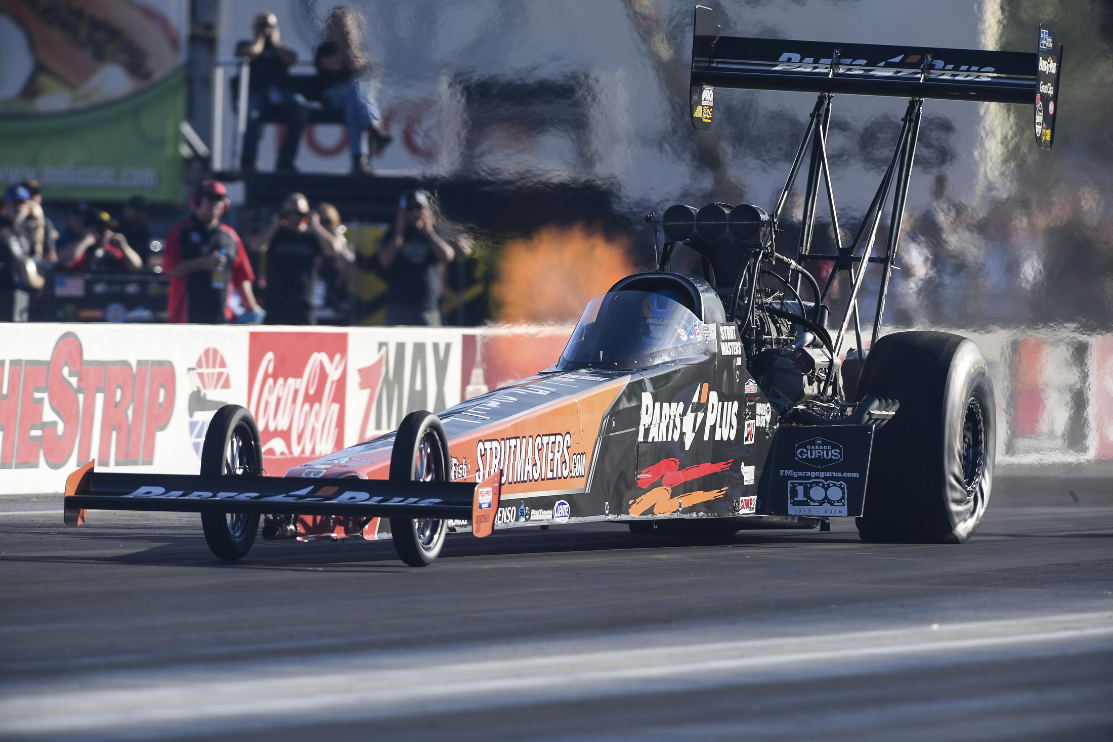 Great Clips/Parts Plus Top Fuel Dragster pilot Clay Millican racing at the Toyota NHRA Nationals