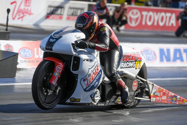 Lucas Oil TV Pro Stock Motorcycle rider Hector Arana Jr. racing on Saturday at the NHRA Toyota Nationals
