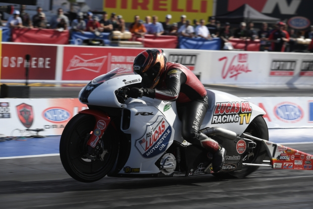Lucas Oil Pro Stock Motorcycle rider Hector Arana Jr. racing on Sunday at the NHRA Toyota Nationals