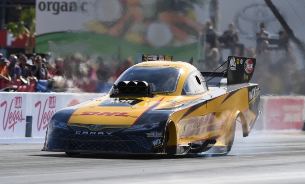 DHL Funny Car pilot J.R. Todd racing on Sunday at the NHRA Toyota Nationals