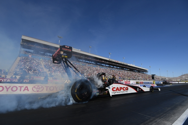 Capco Contractors Top Fuel Dragster pilot Steve Torrence racing on Sunday at the NHRA Toyota Nationals