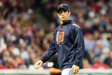 Detroit Tigers manager Brad Ausmus walks back to the dugout against the Cleveland Indians after a pitching change