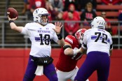 Northwestern quarterback Clayton Thorson throws a pass against the Rutgers Scarlet Knights