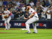 Boston Red Sox closer Craig Kimbrel celebrating the final out against the New York Yankees