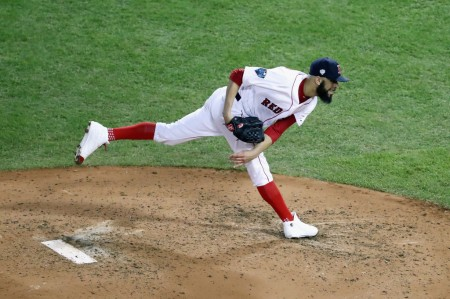 Boston Red Sox pitcher David Price pitching in the fifth inning against the Los Angeles Dodgers in Game 2