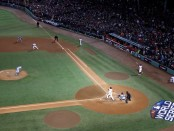 Boston Red Sox outfielder/designated hitter J.D. Martinez hitting a double in Game 2 of the World Series