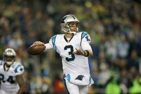 Carolina Panthers quarterback Derek Anderson throwing a pass against the Seattle Seahawks
