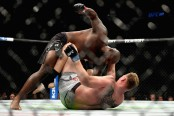 MMA heavyweight fighter Derrick Lewis punches Alexander Volkov at UFC 229