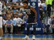 Minnesota Timberwolves point guard Derrick Rose playing against the Dallas Mavericks